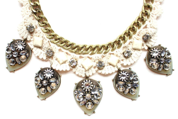 Crochet Chain & Stone Necklace- Ivory/Grey