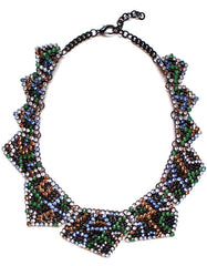 Luxe Geometric Crystals Statement Necklace
