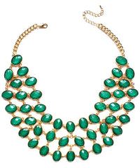 Egyptian Jeweled Collar Necklace- Green