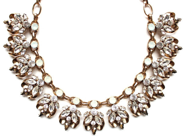 Luxe Chunky Metal with Crystals Statement Necklace