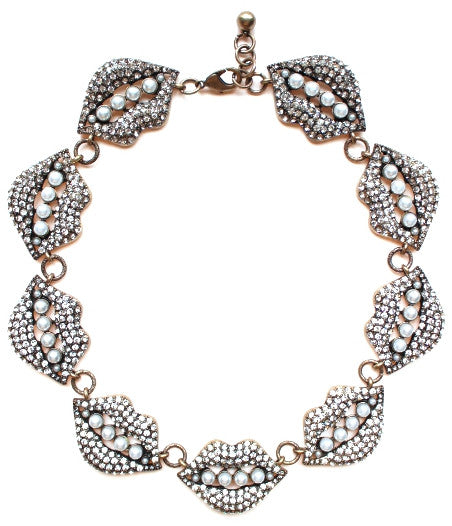 Luxe Lulu Crystal Lips Necklace