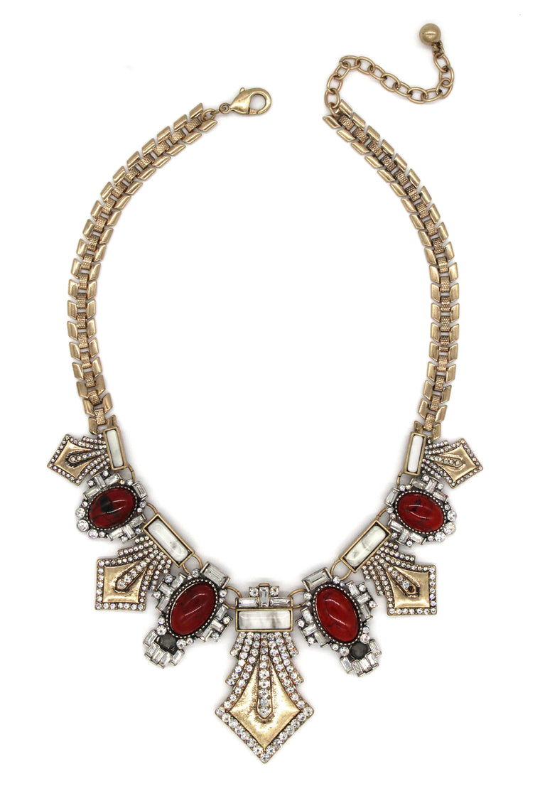 Angelina Crystal Embellished Statement Necklace