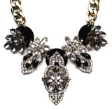 Luxe Multi Stone Cascading Crystal Necklace- Black