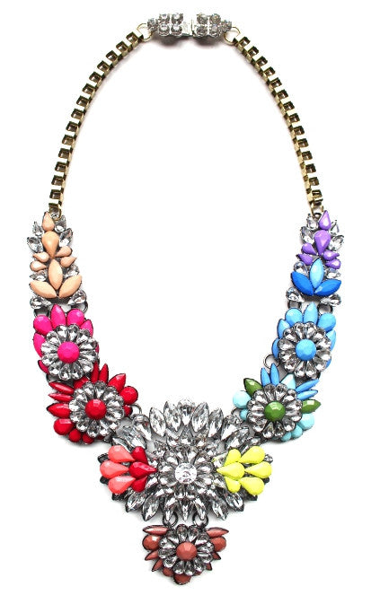 Rainbow Neon Mix Statement Necklace