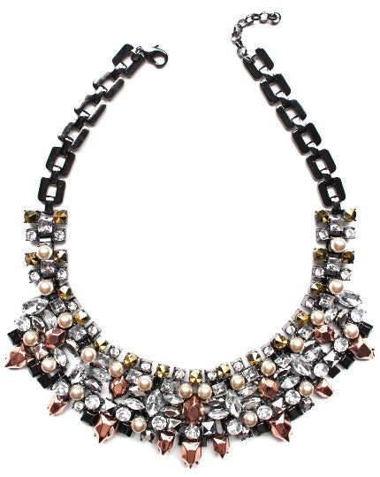 Metallic Crystal & Pearl Mix Statement Necklace