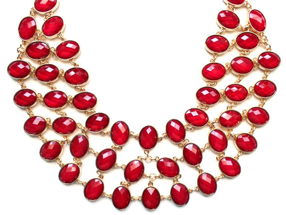 Egyptian Jeweled Collar Necklace- Red