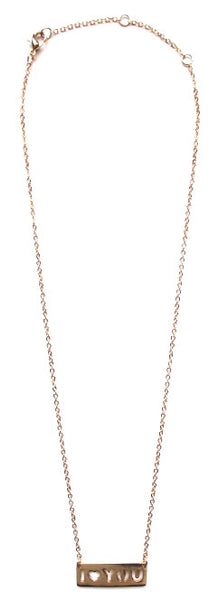 'I Love You' Cutout Pendant Necklace- Gold