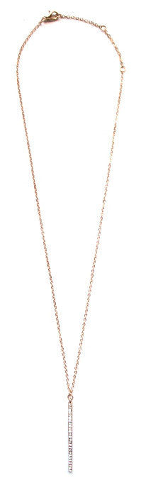 Vertical Pavé Bar Pendant Necklace- Gold