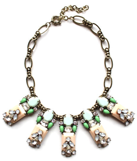 Luxe Mint Leaves Bib Necklace