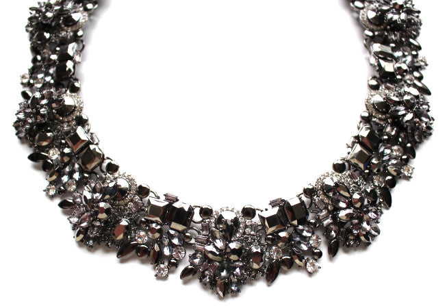 Luxe Vintage Multi Crystal Collar Necklace- Gunmetal