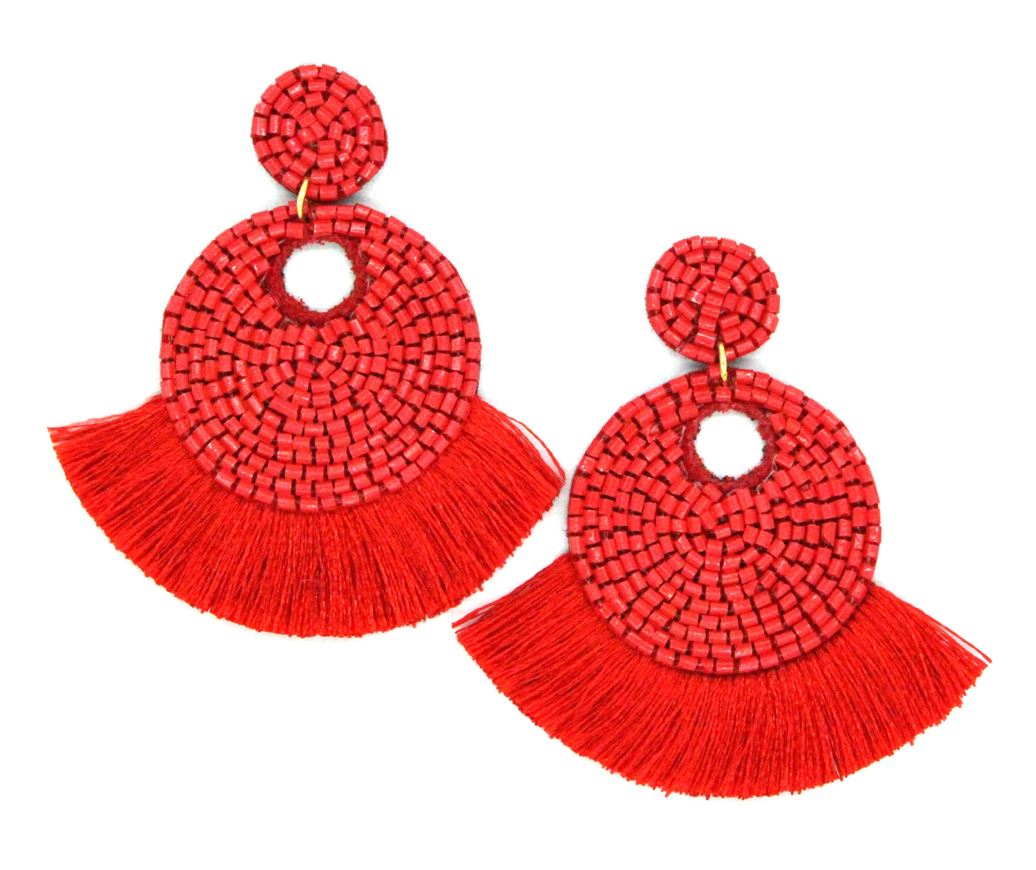 Mini Josie Beaded Tassel Earrings- Red