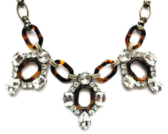 Luxe Tortoise & Crystal Sparkle Bib Necklace