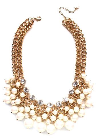 Chunky Pearl & Crystal Statement Necklace