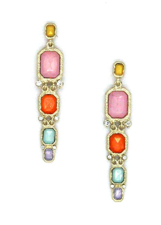 Lucia Jeweled Earrings- Multi Pastel