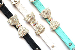 Crystal Bow Leather Band Bracelet- 3 Color Options
