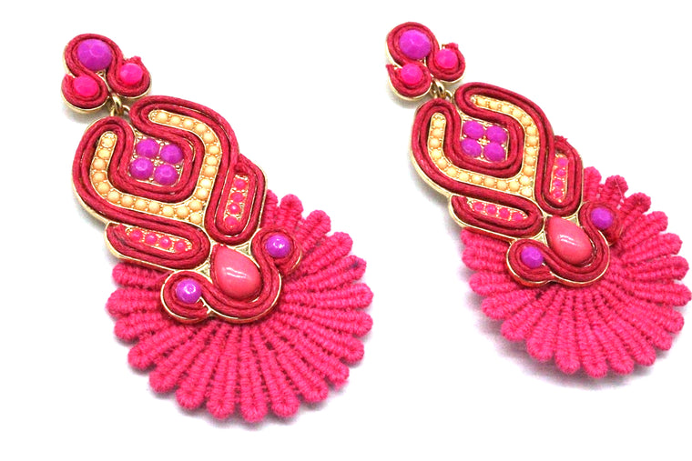 Dahlia Rose Earrings- Pink Multi