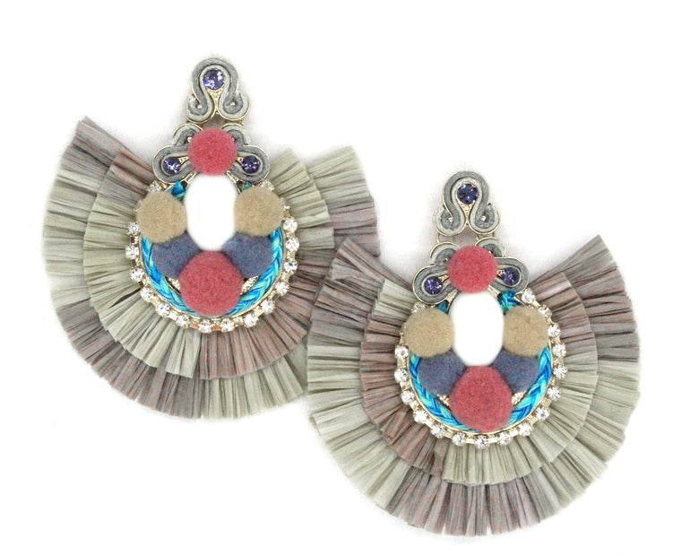 Mali Statement Earrings- Taupe Multi