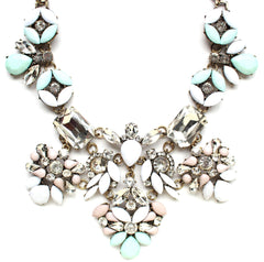 Luxe Floral Pastel Statement Necklace- White & Mint