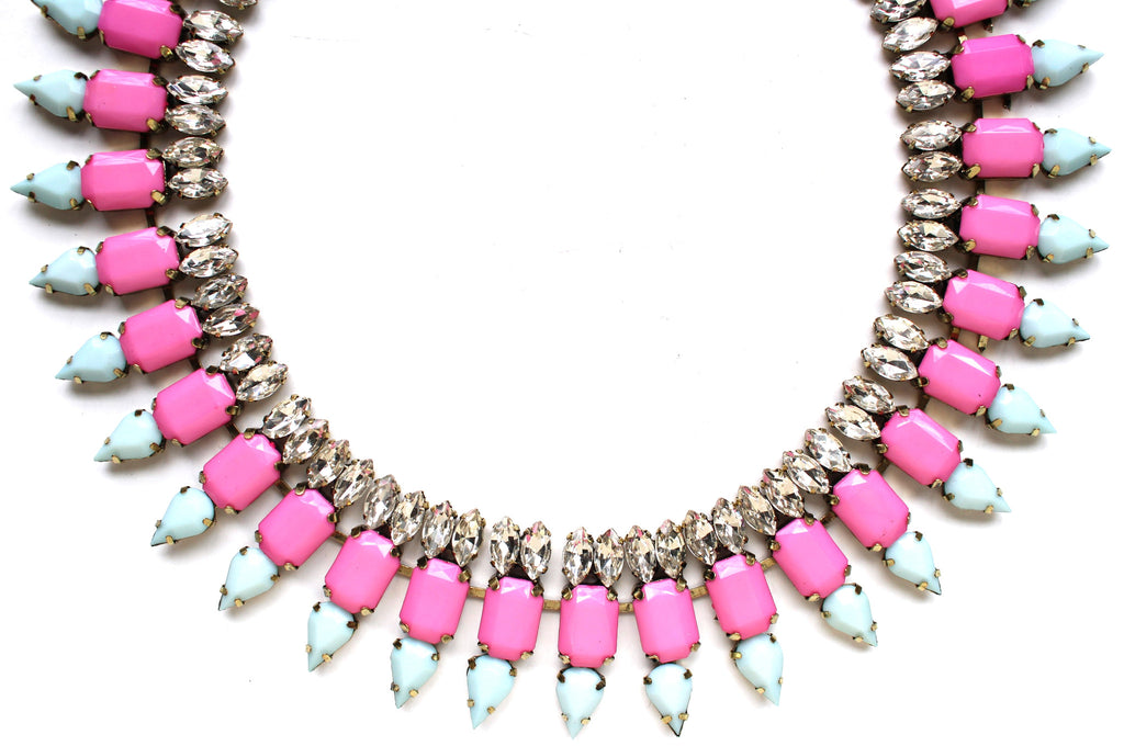 Luxe Mint & Hot Pink Spike Collar Necklace