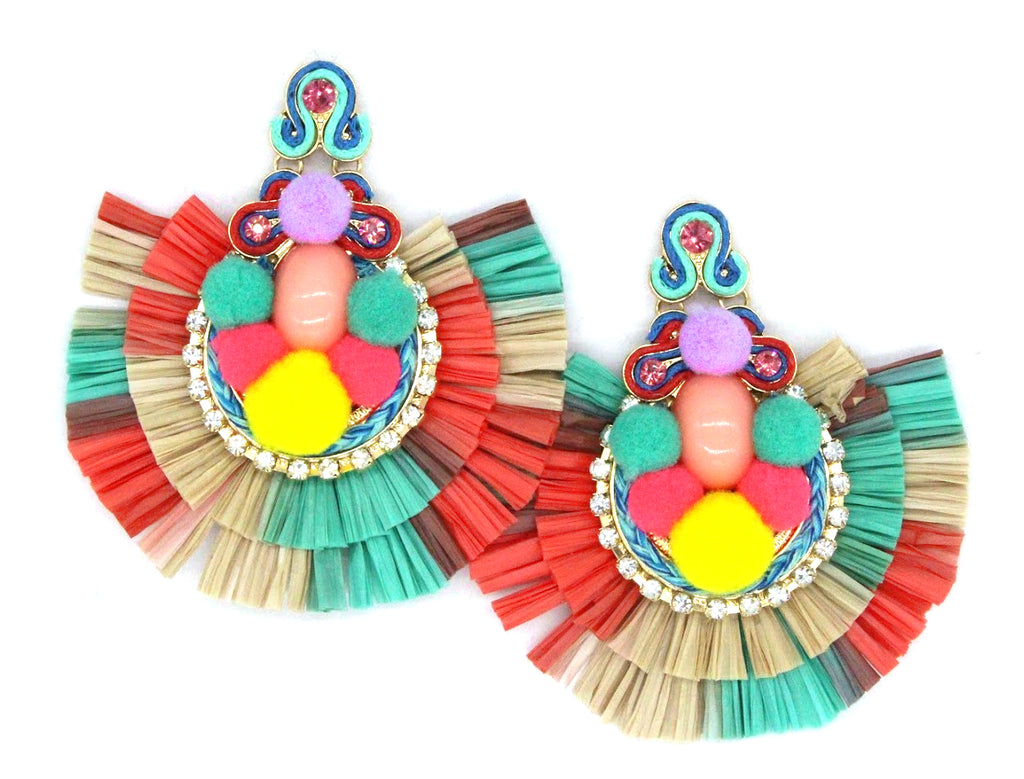 Mali Tropics Statement Earrings- Turquoise Multi