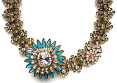 Icy Crystal Flower Statement Necklace