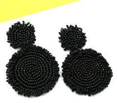 Kira Beaded Statement Earrings- Black