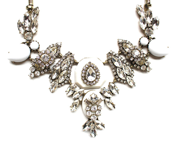 White Stone & Sparkle Mix Bib Necklace