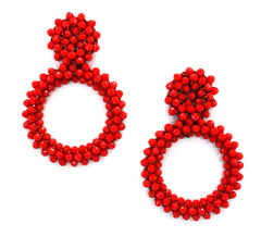 Danielle Jeweled Hoop Earrings- Fire Red