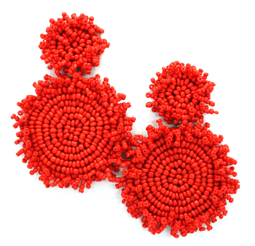 Kira Beaded Statement Earrings- Red