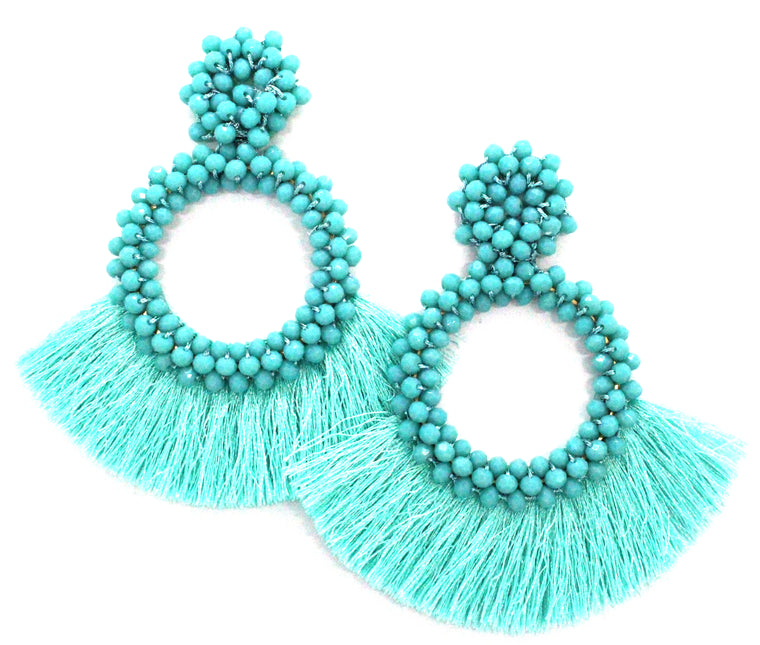 Danielle Jeweled Hoop & Fringe Earrings- Turquoise