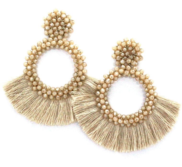 Danielle Jeweled Hoop & Fringe Earrings- Taupe