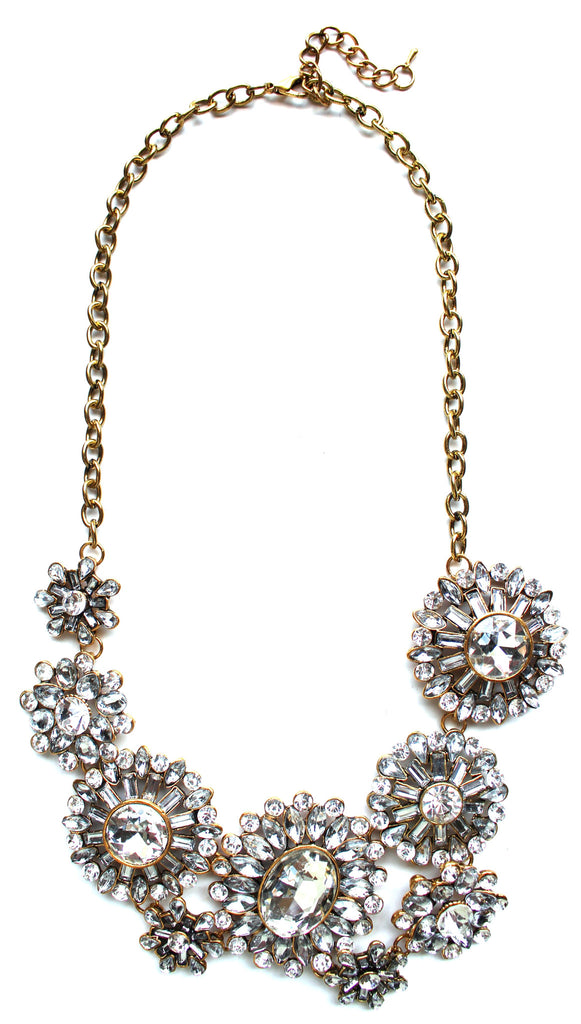 Luxe Crystal Sunburst Statement Necklace