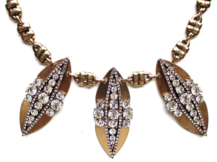 Luxe Crystal Studded Metal Statement Necklace