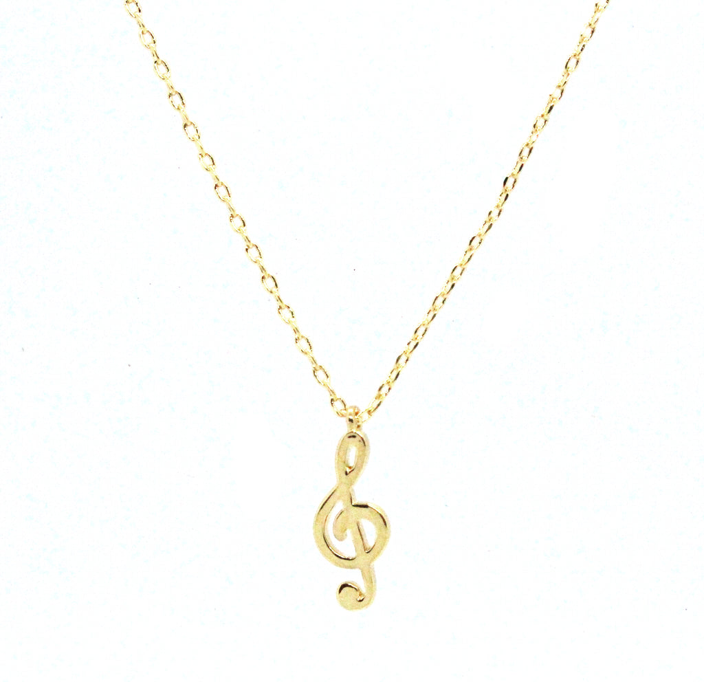 Musical Note Pendant Necklace- Gold