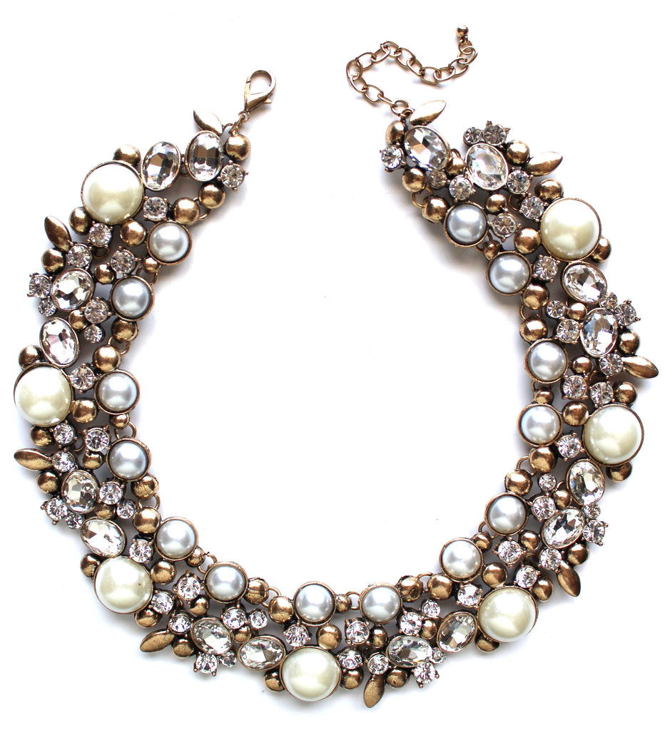 Luxe Shiny Crystal & Pearl Collar Necklace