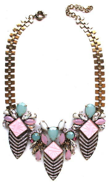 Luxe Deco Crystal Arrowhead Necklace- Pink