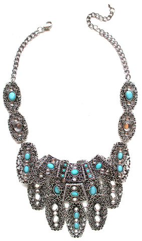 Bohemian Metal Turquoise Stone Necklace