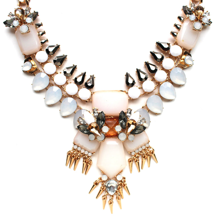 Golden Fringe & Ivory Stone Statement Necklace