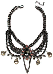 Multilayer Chains & Spikes Statement Necklace