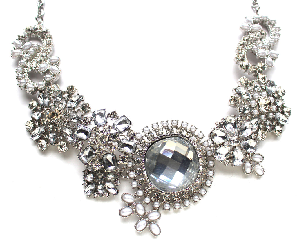 Crystal & Pearl Blossoms Necklace