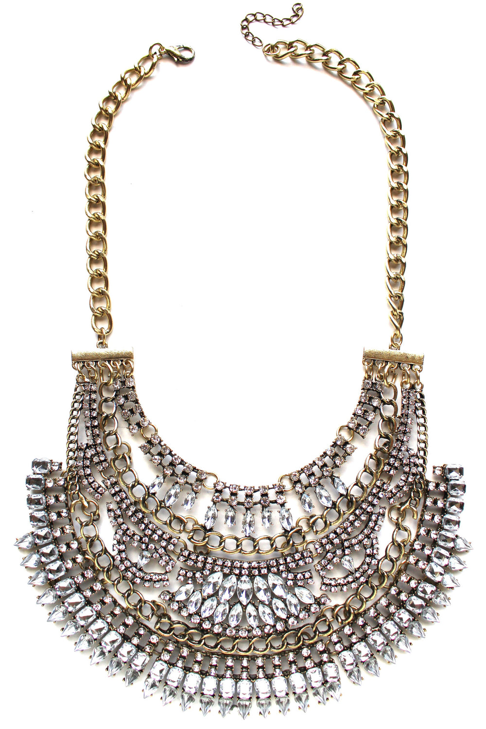 Tribal Royalty Crystal Bib Necklace