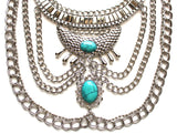 Native Goddess Draped Chains Necklace- Turquoise Stone