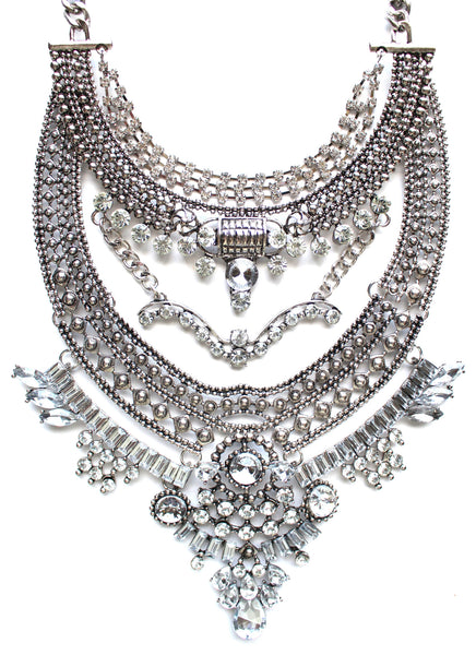 Regal Gypsy Crystal Bib Necklace- Silver