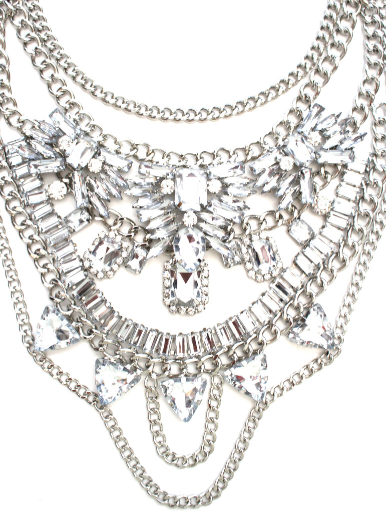 Layered Chains & Crystals Statement Necklace