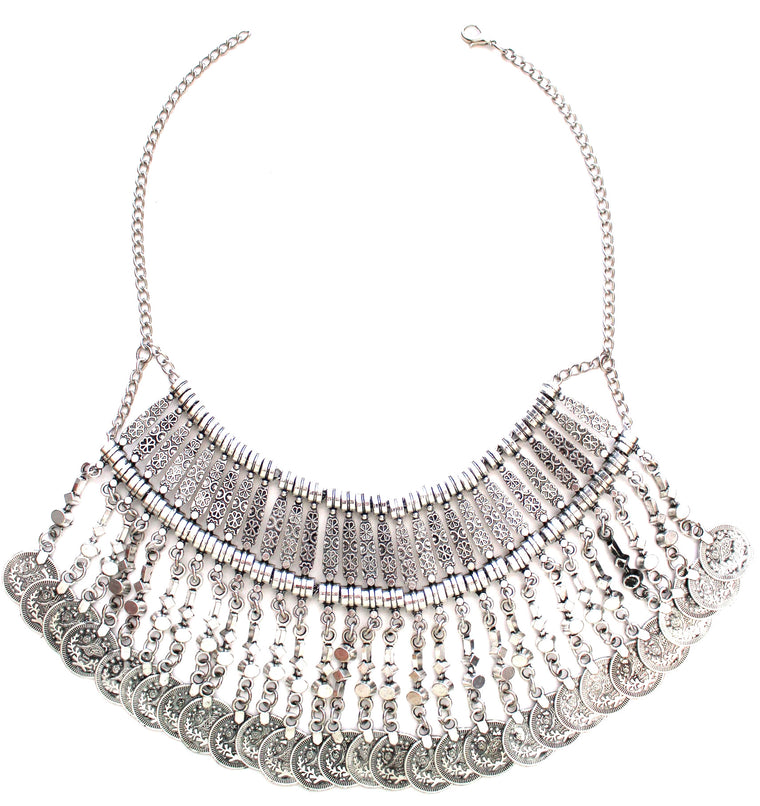 Antiqued Metal Coin Bib Necklace- Silver