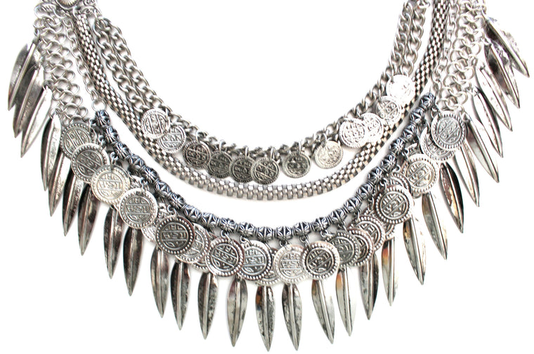 Layered Coin & Spike Fringe Necklace- Silver
