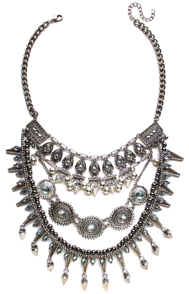 Layered Tribal Chime Statement Necklace