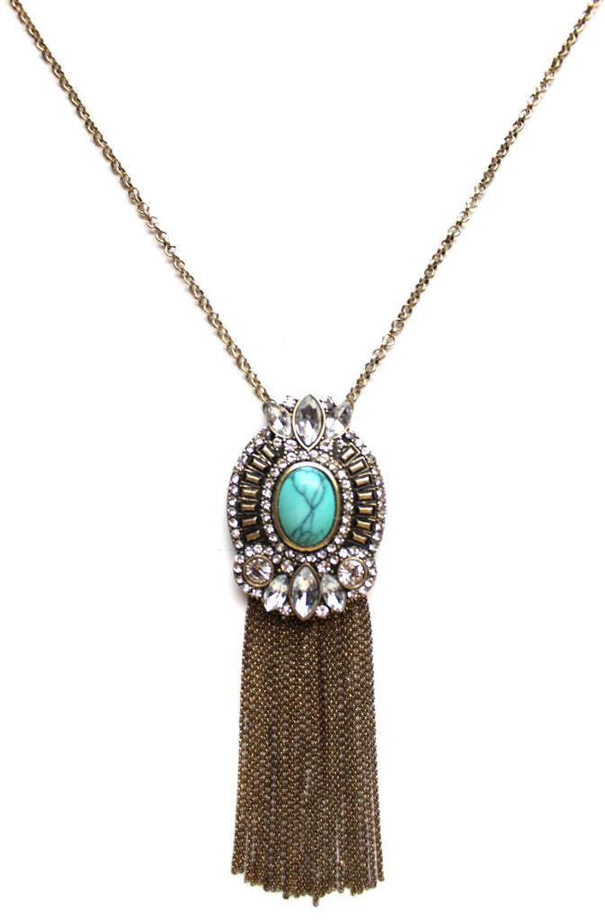 Ornate Embellished Stone Tassel Long Necklace