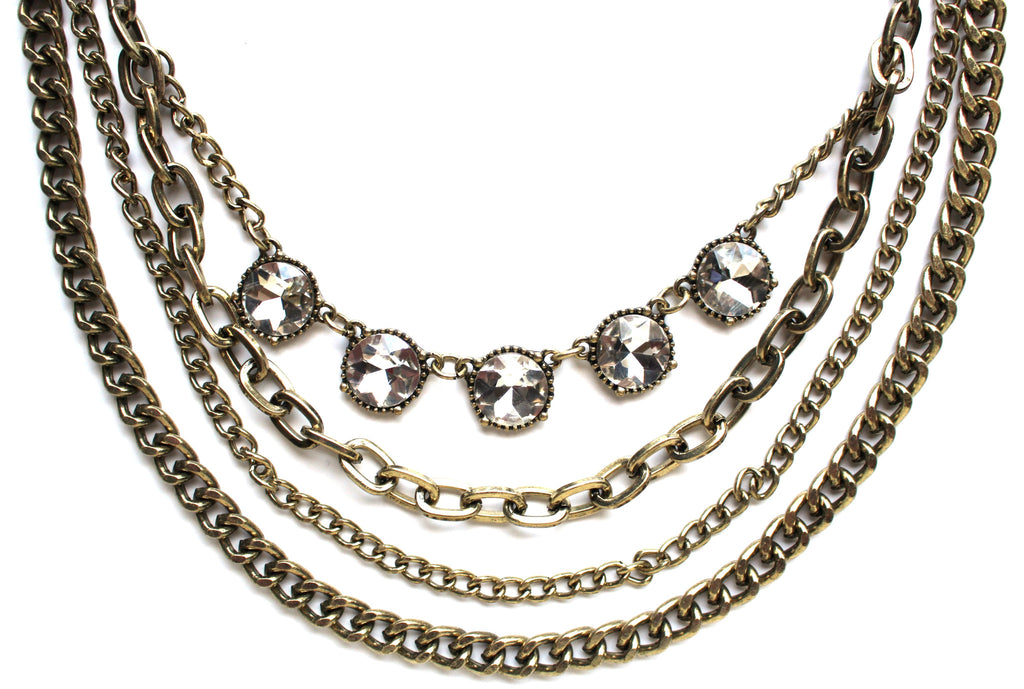 JL Antiqued Metal Chain & Crystal Mix Necklace