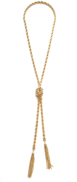 Twisted Chain Tassel Necklace- Gold
